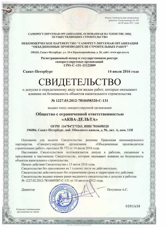 Допуск СРО водоснабжение канализация ООО 171 АКВА ДЕЛЬТА 187