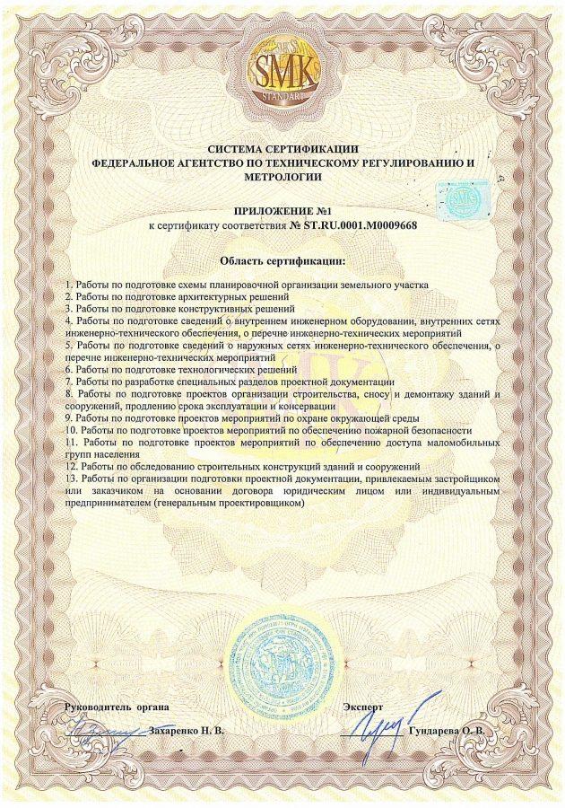 Prilojenie k sertifikatu Sertifikat sootvetstviya GOST R ISO 14001_2007